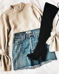 Beige sweater knee length black boots denim skirt