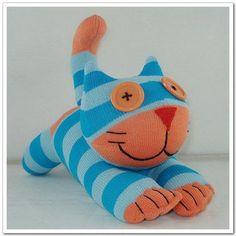 Handmade Sock Cheshire Cat Kitty Stuffed by supersockmonkeys, $10.99  Just way too cute!
