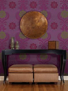 This HGTV Home Sherwin-Williams Wallpaper is all dressed up in purple.