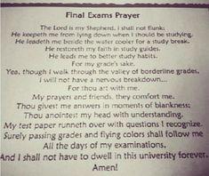 Final Exams Prayer