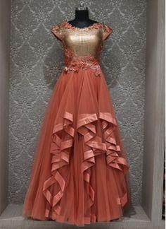 2823b406343 Orange Net  designer  wedding Wear Gown