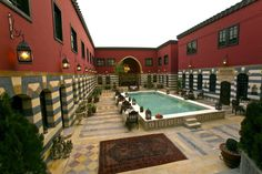 Syrian homes. converted to a hotel with a pool in the middle of the courtyard.