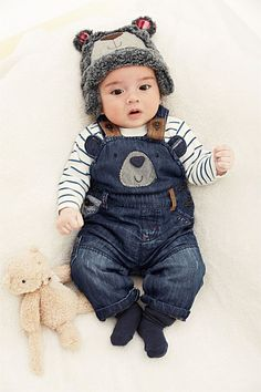 Newborn Clothing - Baby Clothes and Infantwear - Next Bear Denim Dungarees