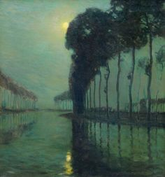 """Moonlight on the Bruges Canal,"" Charles Warren Eaton, oil on canvas, 30 x 28"", Cooley Gallery."
