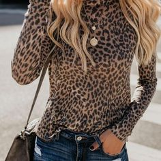 Fashion Sexy Leopard Print Top With Long Sleeves And Round Collar T-Shirt Leopard Print m Leopard Print Outfits, Leopard Shirt, Leopard Print Top, Leopard Print Shirts, Leopard Clothes, Leopard Fashion, Animal Print Outfits, Leopard Dress, Black Print