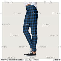 Shop Black Capri Blue Buffalo Plaid Gingham Leggings created by LeonOziel. Leggings Fashion, Women's Leggings, Black Leggings, Pattern Leggings, Custom Leggings, Navy Blue, Blue And White, Black Dark, Tartan Pattern