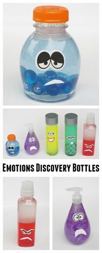 Make an Epic Set of Inside Out Discovery Bottles! How to Make Emotions Discovery Bottles - Inspired by Disney Pixar's Inside Out activity :: learning about emotions :: feelings theme Social Emotional Development, Social Emotional Learning, Social Skills, Toddler Development, Social Work, Emotions Activities, Preschool Activities, Teaching Emotions, Feelings Preschool