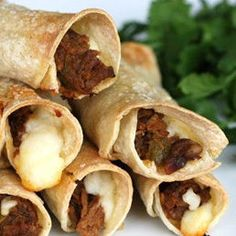 Baked beef taquitos.