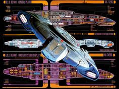 USS Defiant. I find myself annoyed that I can't see the schematic of the Defiant because some idiot put a picture of the Defiant over it. Douchbag!