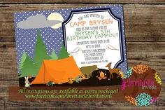 Camping Birthday Party Invitation  Camp Out by InvitasticInvites