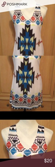 sleeveless tunic sw pattern beaded gently worn Vocal Tops Tank Tops