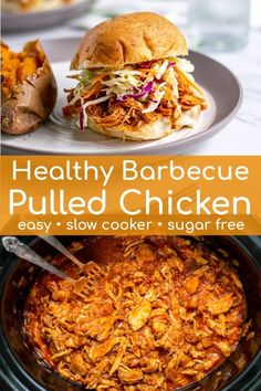sugary store bought BBQ sauce because this Healthy BBQ Pulled Chicken is going to blow your mind. Healthy barbecue chicken made simple in the crockpot, an easy homemade sauce replaces that sugary store bought bbq sauce perfect for BBQ pulled chicken! Slow Cooker Huhn, Slow Cooker Bbq, Healthy Slow Cooker, Slow Cooker Recipes, Pulled Chicken Recipes, Pulled Chicken Sandwiches, Shredded Chicken Recipes, Crockpot Bbq Chicken, Crockpot Bbq Pulled Chicken