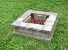 cinder block fire pit with cinder block caps - Google Search