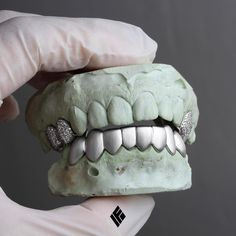 white gold satin finished bottom 8 grills with teeth fully iced out upper caps custom made for Mouth Grills, Grills Teeth, Dental, Tooth Gem, Gold Grill, Custom Caps, Mens Toys, Gold Teeth, Grillz