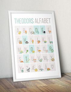 Personal ABC alphabet poster for the kids room | Personlig ABC-plakat med navn - Blå