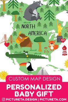 Nursery Wall Art, Playroom Decor, Home Decor by Pictureta Travel Nursery, Toddler Playroom, Personalized Baby Gifts, Custom Map, Playroom Decor, Map Design, Nursery Wall Art, Customer Service, Maps