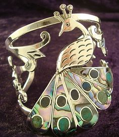 Taxco Mexican sterling silver, abalone, and turquoise Peacock cuff bracelet