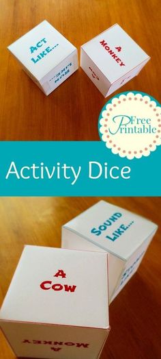 Activity Dice Free Printable - Originally intended for preschoolers, but could easily be adapted for a Spanish class. How fun would this be when learning animal vocabulary??