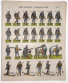 Planche imagerie Wissembourg guerre 1914 armée française Chasseurs Alpins uniforme