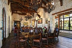 Eclectic Spanish Style Lake House - mediterranean - dining room - austin - Zbranek & Holt Custom Homes