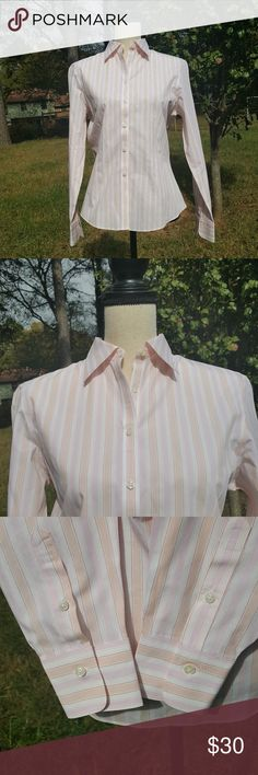 """Brooks Brothers 346 Striped Button Down Shirt 8 Brooks Brothers  Size 8  Striped button down long sleeve shirt in excellent condition.  Approx flat lay measurements  Shoulder to shoulder 16.5"""" Underarm to underarm 20"""" Length from shoulder down 22"""" Sleeve length (including cuffs) 24"""" Brooks Brothers Tops Button Down Shirts"""
