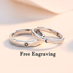 Sterling silver Sun & Moon couple rings set,matching promise rings for couples Pinky Promise Ring, Engraved Promise Rings, Matching Promise Rings, Matching Couple Rings, Promise Rings For Couples, Matching Couples, Silver Promise Rings, Bff Rings, Sister Rings