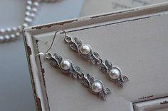 Art Deco Earrings Great Gatsby Earrings Pearl Earrings Vintage