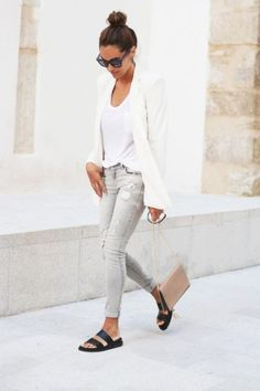 Shop this look on Lookastic: https://lookastic.com/women/looks/blazer-v-neck-t-shirt-skinny-jeans-flat-sandals-crossbody-bag-sunglasses/10182   — White Blazer  — White V-neck T-shirt  — Grey Ripped Skinny Jeans  — Beige Leather Crossbody Bag  — Black Leather Flat Sandals  — Black Embellished Sunglasses