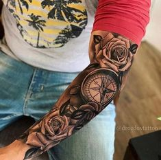 41 Beautiful Rose Tattoo Ideas For Women new Models rose tattoo on shoulder; rose tattoo for men; Rose Tattoos For Men, Half Sleeve Tattoos For Guys, Cool Tattoos For Guys, Full Sleeve Tattoos, Tattoo Sleeve Designs, Tattoo Designs Men, Men Tattoo Sleeves, Tattoo Sleeve Themes, Tattoo Sleves