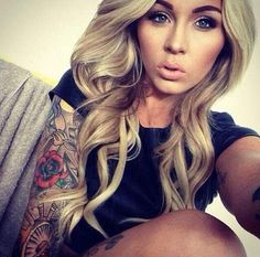 If I could look like this.... Blonde hair, tattoo, half sleeve, eye brows, nude lips.