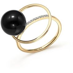 Mateo 14K Yellow Gold Black Onyx Orbit Ring with Diamonds ($875) ❤ liked on Polyvore featuring jewelry, rings, yellow gold, black onyx jewelry, 14k yellow gold ring, diamond rings, gold jewelry and gold jewellery