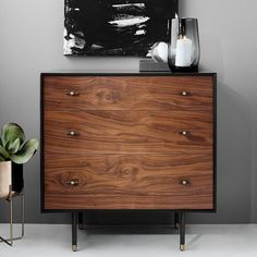 west elm Modernist Wood + Lacquer 3-Drawer Dresser - Anthracite