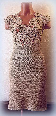 Golden Beige Lace Back Dress A line corset dress evening Crochet statement Gold short Wedding dress Christmas Gown CUSTOM Lace Back Beige Lace Dresses, Lace Back Dresses, Dress Backs, Gilet Crochet, Crochet Blouse, Knit Dress, Crochet Skirts, Crochet Clothes, Crochet Wedding Dresses