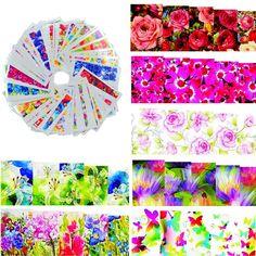 50 hoja de la flor del Color caliente diseños de uñas marca de agua pegatinas tatuajes temporales DIY Tips Nail Art tatuajes de manicura herramientas de belleza