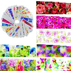 50 fogli fiori di colore disegni caldi watermark nail sticker tatuaggi temporanei consigli fai da te decalcomanie di arte del chiodo manicure strumenti di bellezza