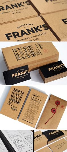 Frank's Moments  Drinks... nice bold typography.