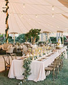 "99 Likes, 1 Comments - Fab Mood - Wedding Blog (@fabmoodpalette) on Instagram: ""An elegant wedding reception under tent with gold details Photo @justindemutiis Dress :…"""