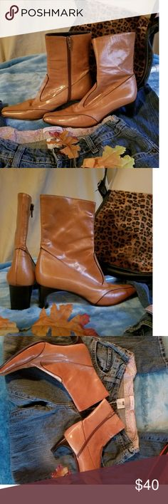Anne Klein low rise boots 👢simply sophisticated and sporty caramel leather boots. Made in Italy (duh!). Side zipper, 2 1/4 inch wide heel for stability.  As comfy as they are cute. 💖💖💖 perfect addition for your fall wardrobe for the women who needs daytime to night time versatility.🍁🍁🍁 Anne Klein Shoes Heeled Boots