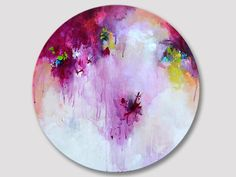Original abstract round painting, abstract art, paintings, round artwork, acrylic painting, very thin round canvas, bordeaux pink painting