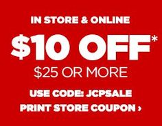 jcpenney coupons 10.00 off 25.00 promo codes online