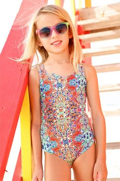 Peixoto Kids Isla One Piece - Mosaic| The Peixoto Kids Isla's eccentric mosaic print will call the attention of young fashionistas. It is a classic piece with a colorful print. The Kids Mosaic One Piece is the missing piece to make your swimwear collection complete.#peixoto