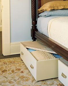 "Make under the bed rolling drawers fitted with snap-on covers to keep dust at bay. Maybe make ""wicker"" baskets with virtually hidden wheels. Could use them as shoe storage. One could be a roll out dog bed for greyhound. #DIY #organization #bedroom"
