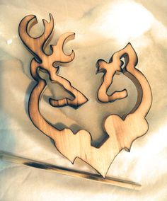ELITE Collection Country Rustic Shabby Custom Wood Burn Browning Deer Couple TWO HEARTS Wood Art Wedding Cake Topper