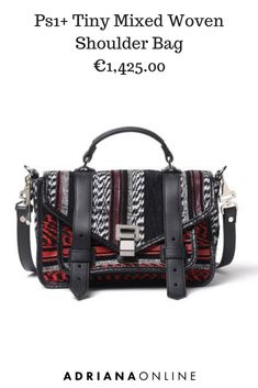 Beautiful handbag in a white, black and red mix textile design. Black leather top handle, straps at frontal closure and removable adjustable shoulder strap. Fall Bags, Bags 2018, Beautiful Handbags, New Bag, Proenza Schouler, Bag Making, Shoulder Strap, Black Leather, Womens Fashion