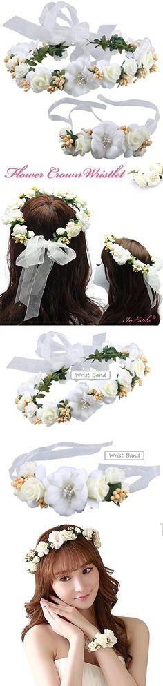 Prohouse Women's Flower Crown Bride Floral Hair Wreath Floral Headband Garland Wrist Band 2pcs/set for Wedding Festivals