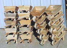 Small wooden wheelbarrows