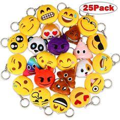 98671dfb63 Dreampark Emoji Keychains Mini Emoji Key Chain Plush Pillows for Kids Party  Favors Birthday Party