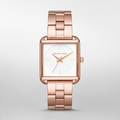 Lake Rose Gold-Tone Three-Hand Watch Style gets squared in the Michael Kors Lake watch, featuring a polished rose gold-tone case and minimalist white CD-finish dial, paired with a rose gold-tone three-link bracelet.