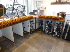 Brompton parking spaces - how clever is this? Locks provided