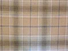BALMORAL TARTAN 100% WOOL LARGE CHECK FABRIC WILD OAT BLUE BROWN BEIGE CURTAINS